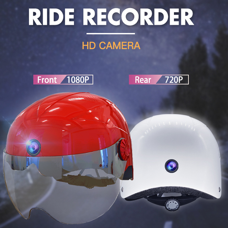 A9 AI Helmet Camera Dual Camcorder With WIFI, Bluetooth AI Intelligent 6 Hours No-Stop Motorcycle Camera