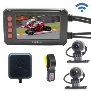 Motorcycle Recording Camera System by Meknic, Motorcycle 1080P Dual Lens Dash Cam DVR, Rear View Sports Action Camera, Waterproof Video Driving Recorder with WiFi & GPS, 3.0″ LCD, 140 De...