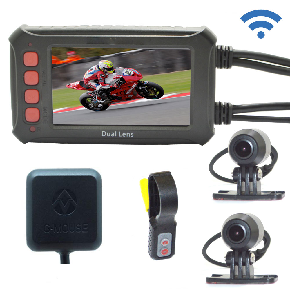 Motorcycle Recording Camera System by Meknic, Motorcycle 1080P Dual Lens Dash Cam DVR, Rear View Sports Action Camera, Waterproof Video Driving Recorder with WiFi & GPS, 3.0″ LCD, 140 Degree Angle, 128G Max Featured Image