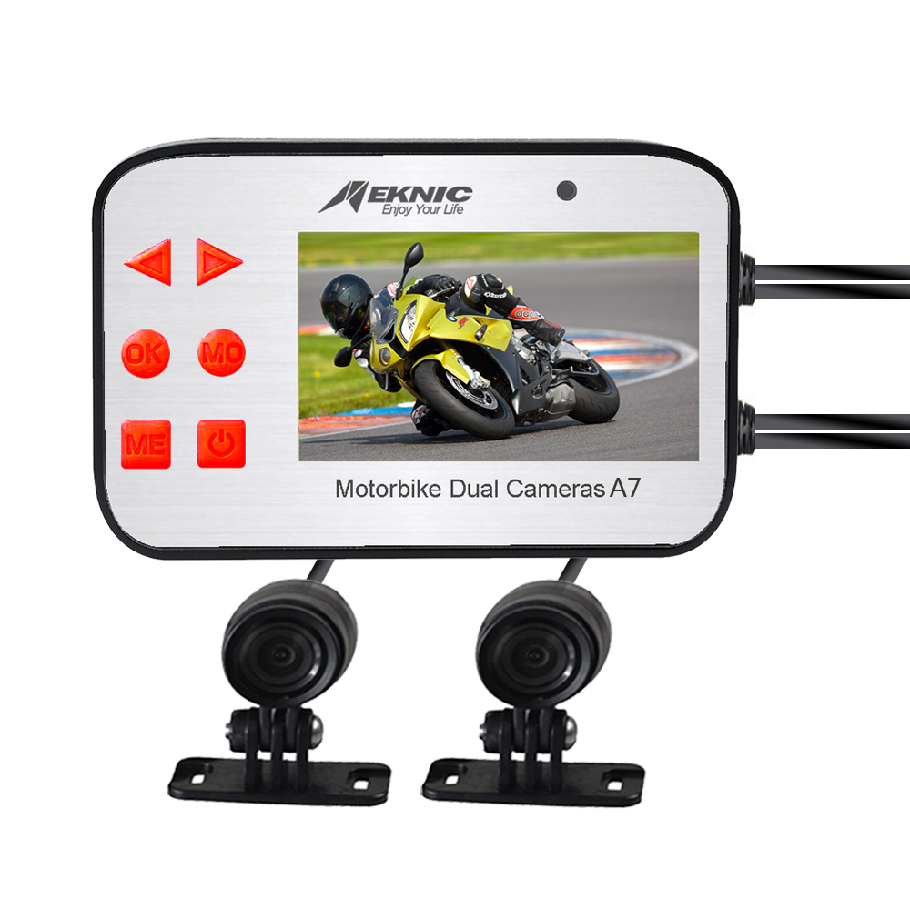 Meknic A7 Motorcycle Camera, Dual Lens 1080P Video Security Motorbike Camera System with 2.7″ Screen, Motorcycle Dash Camera, Waterproof Motorcycle Driving Recorder with G-Sensor, Loop Recording, WDR Featured Image