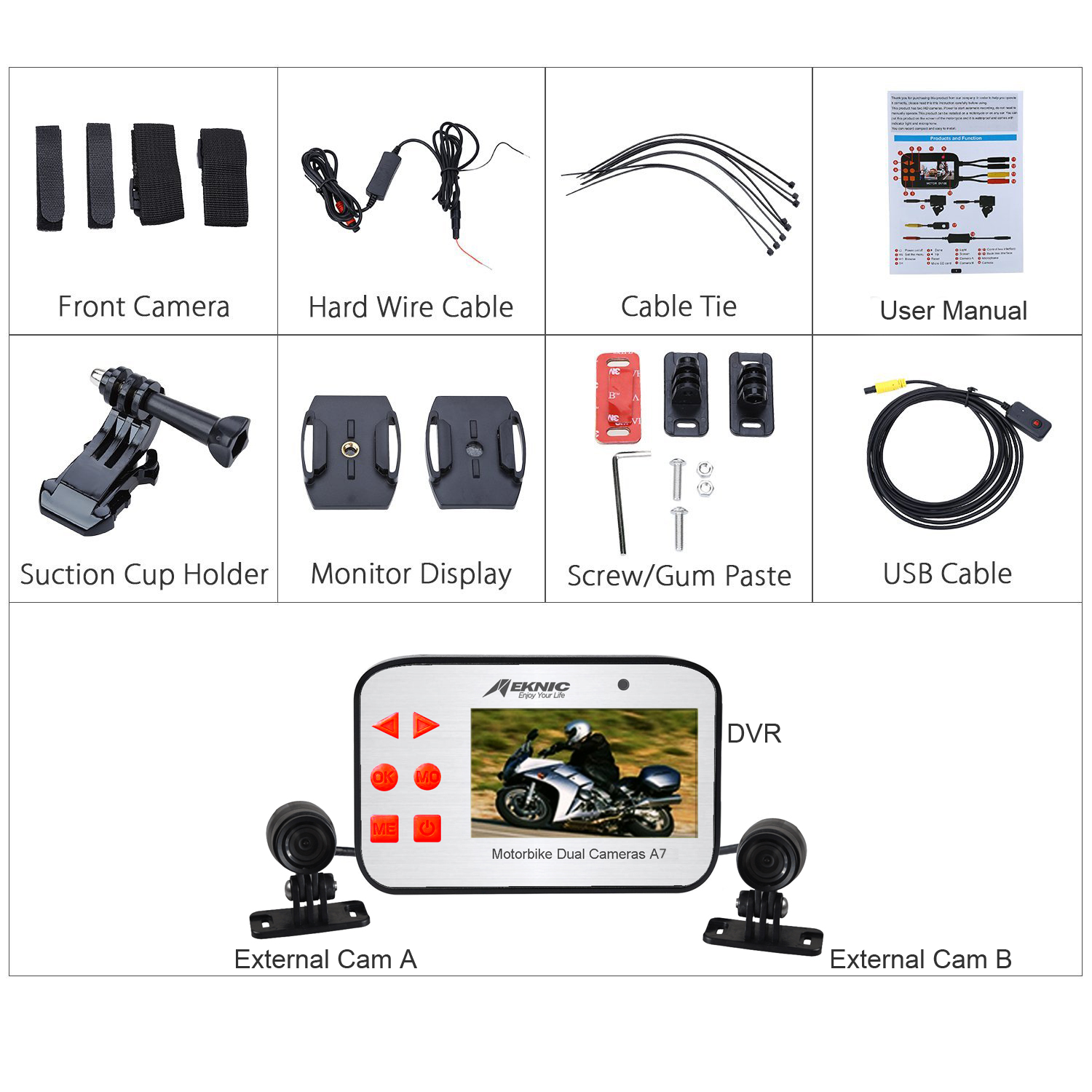Meknic A7 Motorcycle Camera, Dual Lens 1080P Video Security Motorbike Camera System with 2.7″ Screen, Motorcycle Dash Camera, Waterproof Motorcycle Driving Recorder with G-Sensor, Loop Recording, WDR